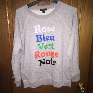 J Crew French Colors Sweatshirt NWT Large